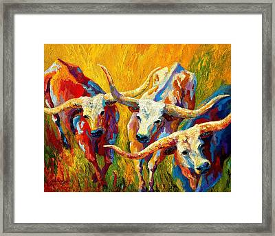 Dance Of The Longhorns Framed Print by Marion Rose
