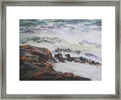 Dance Of The Rising Tide Framed Print by Alicia Drakiotes