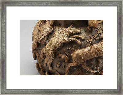 Dance Of The Seasons - Bronze Wildlife Bowl Detail - Wolf And Jumping Mice Framed Print by Dawn Senior-Trask