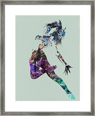Dancer Watercolor Framed Print by Naxart Studio