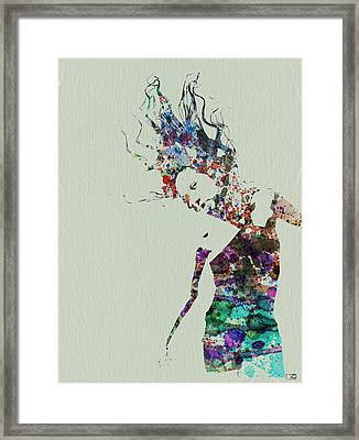 Dancer Watercolor Splash Framed Print by Naxart Studio