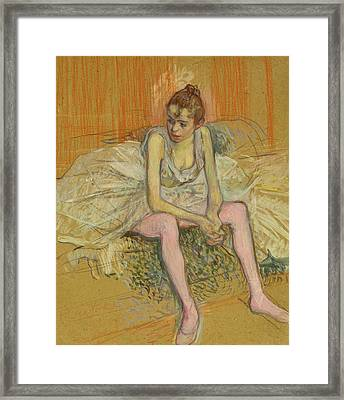 Dancer With Pink Stockings Framed Print by Henri de Toulouse-Lautrec