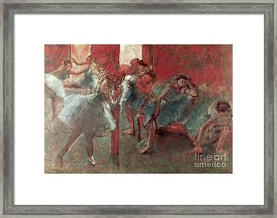 Dancers At Rehearsal Framed Print by Edgar Degas