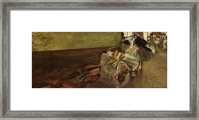 Dancers In The Rehearsal Room Framed Print by Edgar Degas