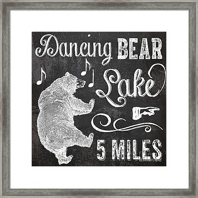 Dancing Bear Lake Rustic Cabin Sign Framed Print by Mindy Sommers