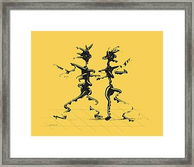 Dancing Couple 2 - Primrose Yellow Framed Print by Manuel Sueess