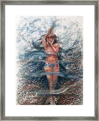 Dancing In The Water  Framed Print by Laila Awad Jamaleldin