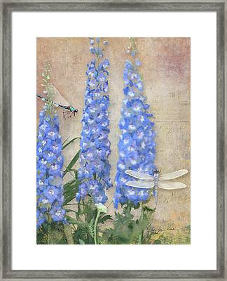 Dancing In The Wind - Damselfly N Dragonfly W Delphinium Framed Print by Audrey Jeanne Roberts