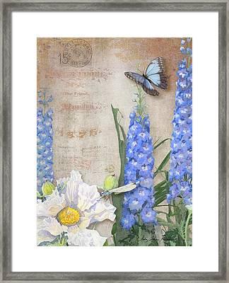 Dancing In The Wind - Damselfly N Morpho Butterfly W Delphinium Framed Print by Audrey Jeanne Roberts