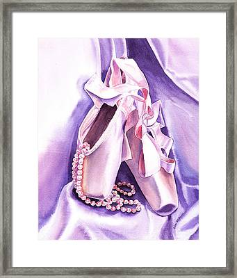 Dancing Pearls Ballet Slippers  Framed Print by Irina Sztukowski