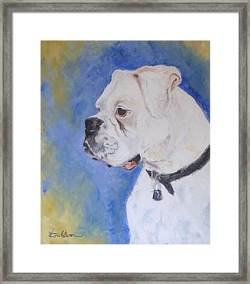 Danger The White Boxer Framed Print by Veronica Coulston