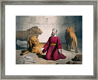 Daniel In The Lions' Den Framed Print by Bequet