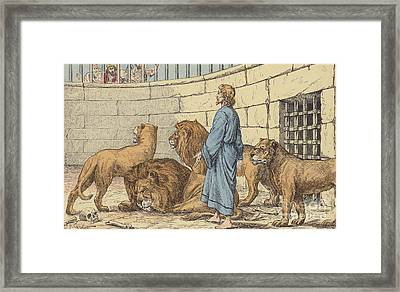 Daniel In The Lions' Den Framed Print by French School