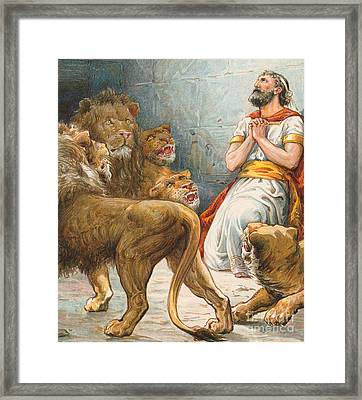Daniel In The Lion's Den Framed Print by Robert Ambrose Dudley