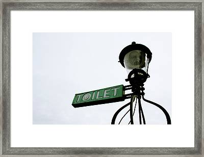 Danish Toilet Sign Framed Print by Linda Woods
