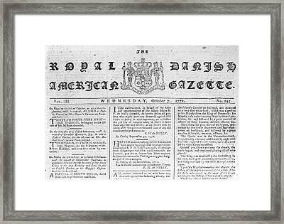Danish West Indies 1772 Framed Print by Granger