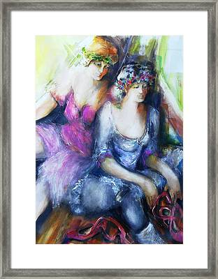 Danseuse With Mentor Framed Print by Claire Sallenger Martin