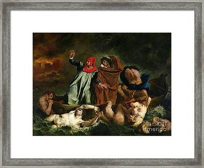 Dante And Virgil In The Underworld Framed Print by Ferdinand Victor Eugene Delacroix