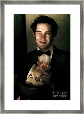 Dark And Shady Man With Money Bribe Framed Print by Jorgo Photography - Wall Art Gallery