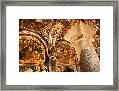 Dark Cave Church Byzantine Frescoes Framed Print by Denise Lett