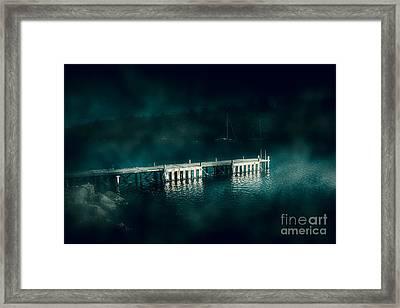 Dark Haunting Wooden Pier Framed Print by Jorgo Photography - Wall Art Gallery