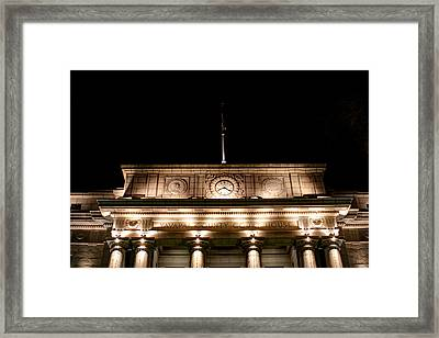 Darkness Falls On The Courthouse Framed Print by Austin Troya