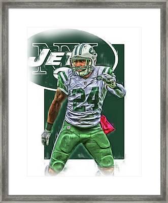 Darrelle Revis New York Jets Oil Art Framed Print by Joe Hamilton