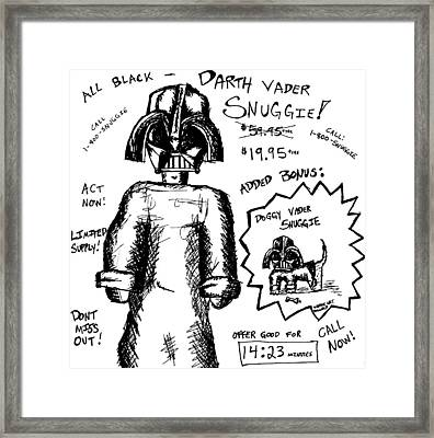Darth Vader Snuggie Bw Framed Print by Jera Sky
