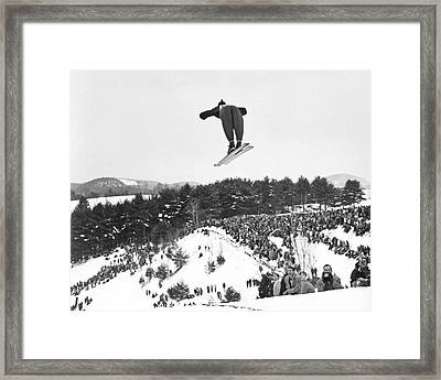 Dartmouth Carnival Ski Jumper Framed Print by Underwood Archives