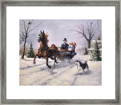 Dashing Through The Snow  II Framed Print by Jeanne Newton Schoborg