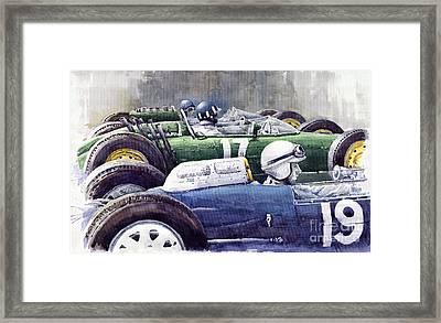Datch Gp 1962 Lola Brm Lotus Framed Print by Yuriy  Shevchuk