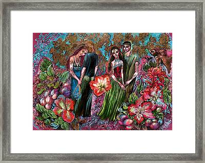 Dating In Flower Valley Framed Print by Maya Gusarina