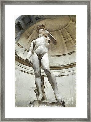 David By Michelangelo Pencil Framed Print by Edward Fielding