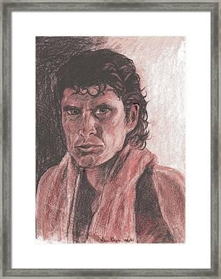 David Hasselhoff With Towel Framed Print by Nancy Degan