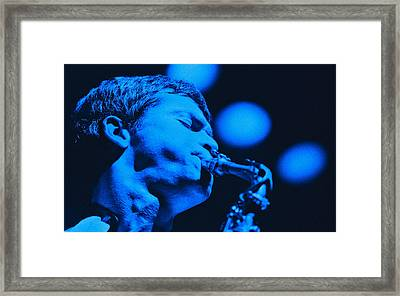 David Sanborn Blue Close Up Framed Print by Philippe Taka
