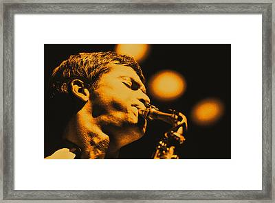 David Sanborn Warm Close Up Framed Print by Philippe Taka