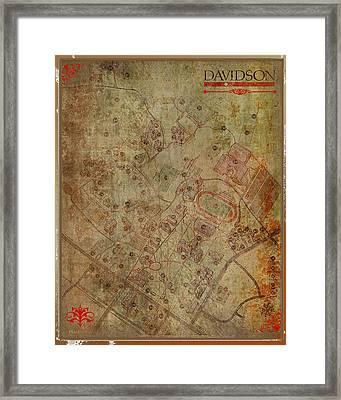 Davidson College Map Framed Print by Paulette B Wright