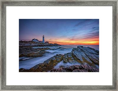 Dawn At Portland Head Lighthouse Framed Print by Rick Berk