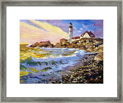 Dawn Breaks Cape Elizabeth Plein Air Framed Print by David Lloyd Glover