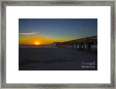 Dawn Effect Tybee Island Pier Framed Print by Reid Callaway