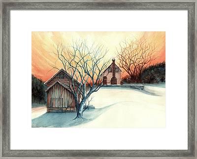 Dawn Has Spoken - Farmhouse Sunrise Framed Print by Janine Riley
