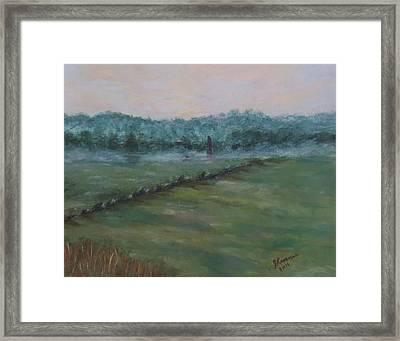 Dawn Over The Railroad Cut-gettysburg Framed Print by Joann Renner