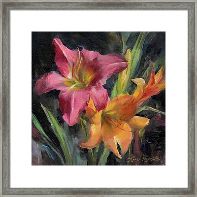 Day Lilies Framed Print by Anna Rose Bain