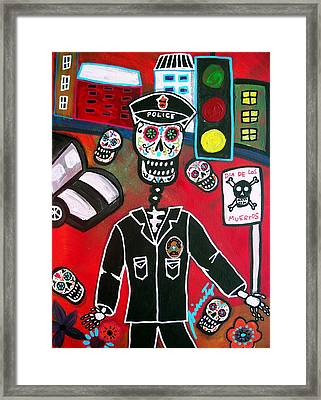Day Of The Dead Policeman Framed Print by Pristine Cartera Turkus
