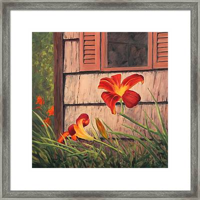 Daylilies At The Shed Framed Print by Elaine Farmer