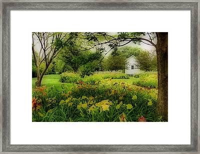 Daylilies In The Garden Framed Print by Sandy Keeton