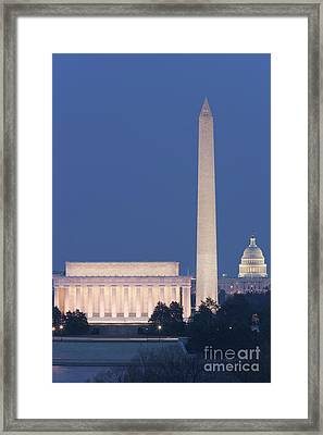Dc Landmarks At Twilight Framed Print by Clarence Holmes