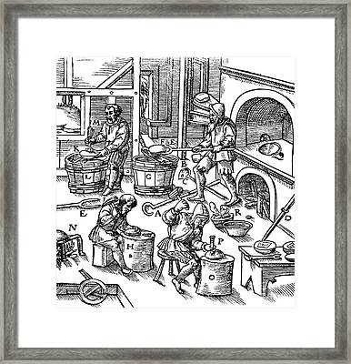 De Re Metallica, Metallurgy Workshop Framed Print by Science Source