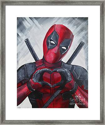 Deadpool Love Framed Print by Tyler Haddox
