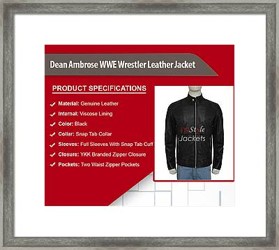 Dean Ambrose Wwe Wrestler Leather Jacket Framed Print by Susan Fernando